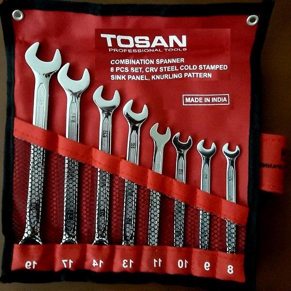 سرویس 8 عددی آچار یکسر تخت یکسر رینگی توسن مدل T101-S8